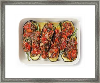 Oven Ready Stuffed Aubergines Framed Print by Paul Cowan