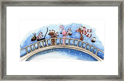 Over The Bridge They Go Framed Print by Lucia Stewart