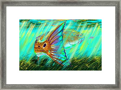 Underwater Diva Framed Print featuring the digital art Over The Grass  by Yusniel Santos