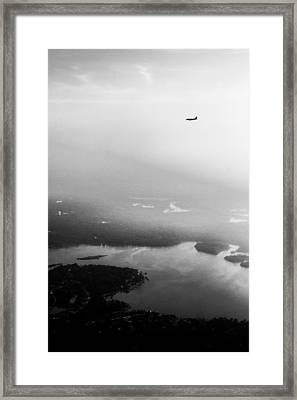 Over The Lake - Black And White Framed Print by Shelby  Young