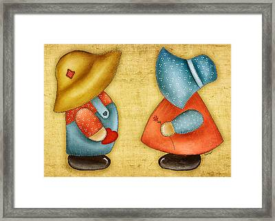 Overall Sam And Sunbonnet Sue Framed Print by Brenda Bryant