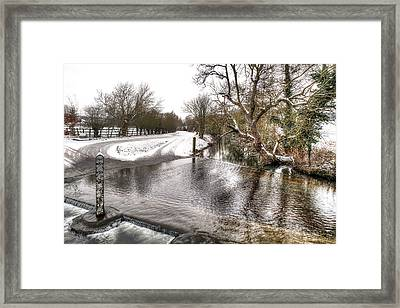 Overflowing River In Winter Framed Print by Gill Billington