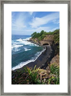 Overlook Over Shark Bay Below Volcano Framed Print by Michael Runkel