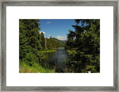 Overlooking The Lochsa River In Idaho Framed Print by Larry Moloney