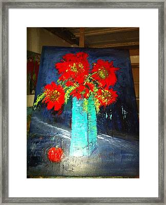 Oversized Poppies With Apple Framed Print by Anna Tolleson
