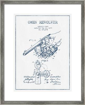 Owen Revolver Patent Drawing From 1899 -  Blue Ink Framed Print by Aged Pixel