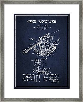 Owen Revolver Patent Drawing From 1899- Navy Blue Framed Print by Aged Pixel