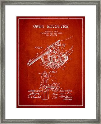 Owen Revolver Patent Drawing From 1899- Red Framed Print by Aged Pixel