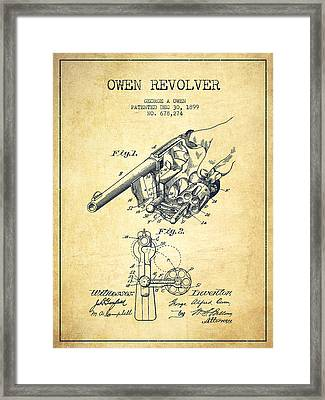 Owen Revolver Patent Drawing From 1899- Vintage Framed Print by Aged Pixel