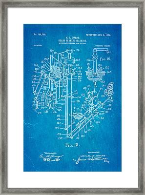 Owens Glass Shaping Machine Patent Art 2 1904 Blueprint Framed Print by Ian Monk