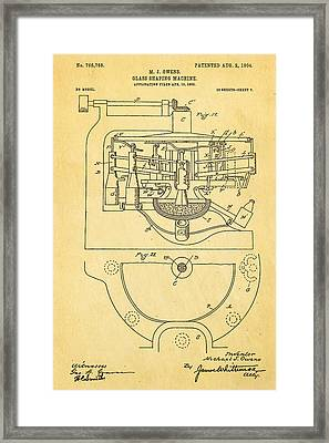 Owens Glass Shaping Machine Patent Art 3 1904 Framed Print by Ian Monk