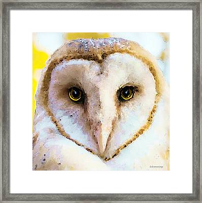 Owl Art - Soft Love Framed Print by Sharon Cummings
