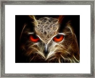 Owl - Fractal Artwork Framed Print by Lilia D