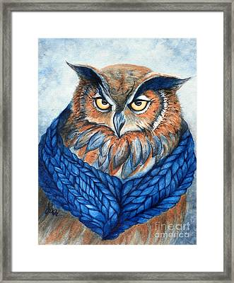 Owl In A Cowl Framed Print by Janine Riley
