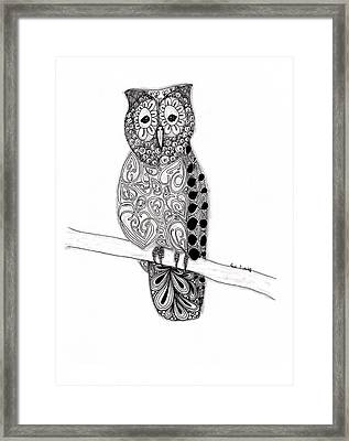 Owl On A Branch Framed Print by Paula Dickerhoff