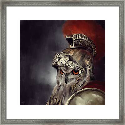 Owl Roman Warrior Framed Print by Lourry Legarde