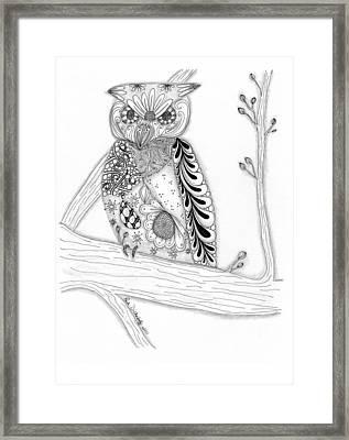 Owl Sittin Pretty Framed Print by Paula Dickerhoff