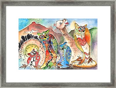 Owls And Camel From Lanzarote Framed Print by Miki De Goodaboom