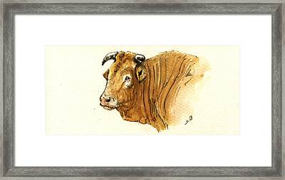 Ox Head Painting Study Framed Print by Juan  Bosco