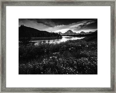 Oxbow Bend In Black And White Framed Print by Vishwanath Bhat