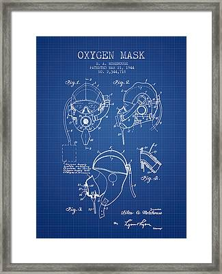 Oxygen Mask Patent From 1944 - Blueprint Framed Print by Aged Pixel