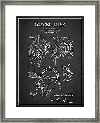 Oxygen Mask Patent From 1944 - Charcoal Framed Print by Aged Pixel