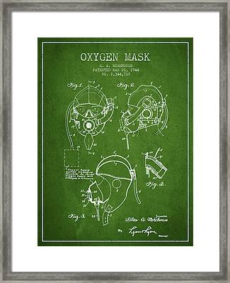 Oxygen Mask Patent From 1944 - Green Framed Print by Aged Pixel