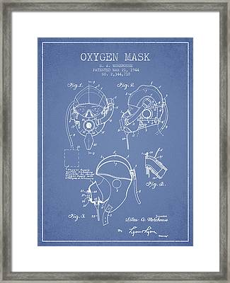 Oxygen Mask Patent From 1944 - Light Blue Framed Print by Aged Pixel