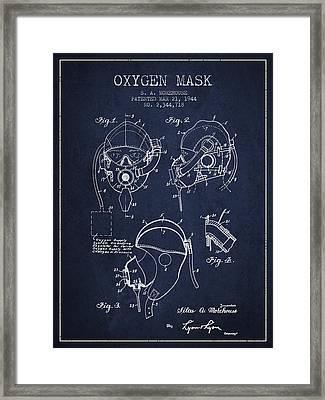 Oxygen Mask Patent From 1944 - Navy Blue Framed Print by Aged Pixel