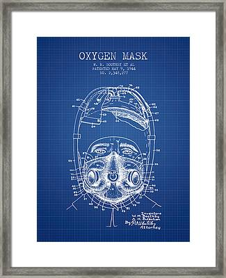 Oxygen Mask Patent From 1944 - One - Blueprint Framed Print by Aged Pixel