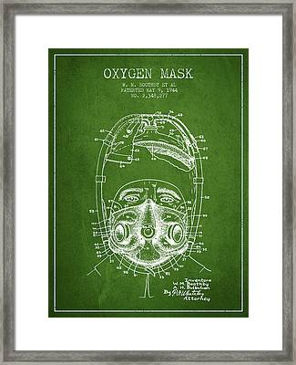 Oxygen Mask Patent From 1944 - One - Green Framed Print by Aged Pixel