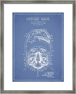 Oxygen Mask Patent From 1944 - One - Light Blue Framed Print by Aged Pixel