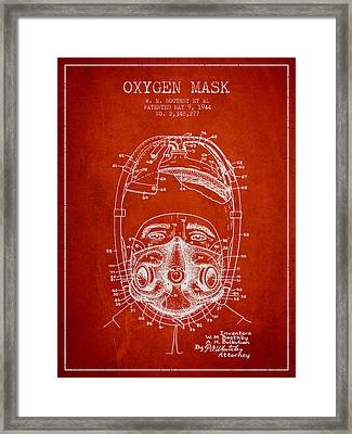 Oxygen Mask Patent From 1944 - One - Red Framed Print by Aged Pixel