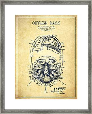 Oxygen Mask Patent From 1944 - One - Vintage Framed Print by Aged Pixel