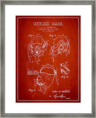 Oxygen Mask Patent From 1944 - Red Framed Print by Aged Pixel