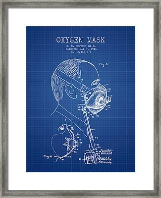 Oxygen Mask Patent From 1944 - Three - Blueprint Framed Print by Aged Pixel