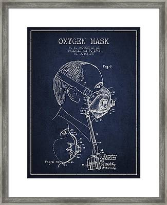 Oxygen Mask Patent From 1944 - Three - Navy Blue Framed Print by Aged Pixel