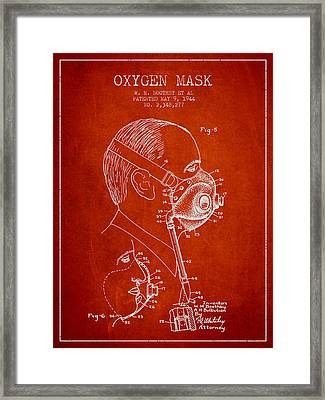 Oxygen Mask Patent From 1944 - Three - Red Framed Print by Aged Pixel