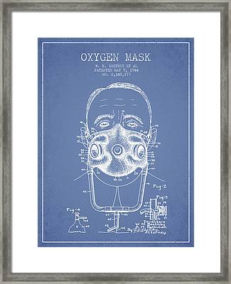 Oxygen Mask Patent From 1944 - Two - Light Blue Framed Print by Aged Pixel