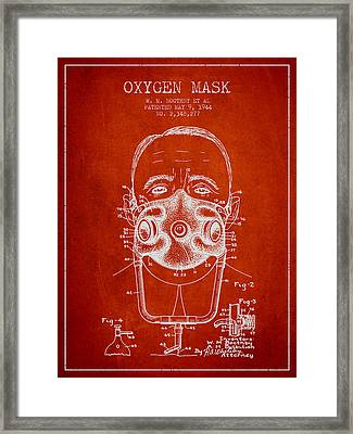 Oxygen Mask Patent From 1944 - Two - Red Framed Print by Aged Pixel