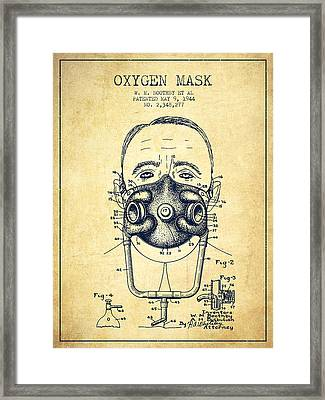 Oxygen Mask Patent From 1944 - Two - Vintage Framed Print by Aged Pixel