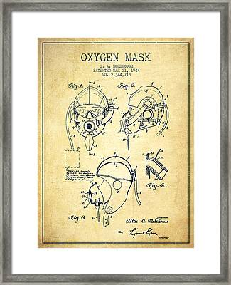 Oxygen Mask Patent From 1944 - Vintage Framed Print by Aged Pixel