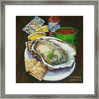 Oyster And Crystal Framed Print by Dianne Parks