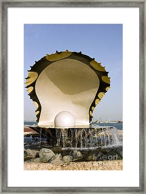 Oyster And Pearl Monument In Doha Framed Print by Paul Cowan