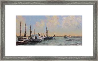 Oyster Boat Evening Framed Print by Susan Richardson