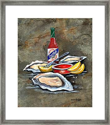 Oysters On The Half Shell Framed Print by Elaine Hodges