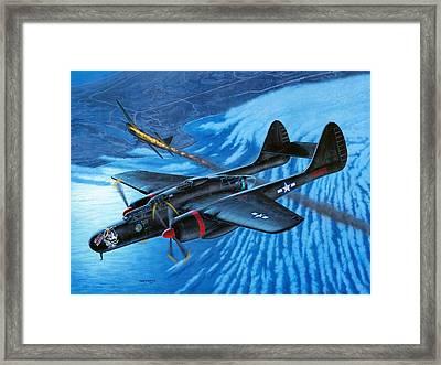 P-61 Black Widow  Caught In The Web Framed Print by Stu Shepherd