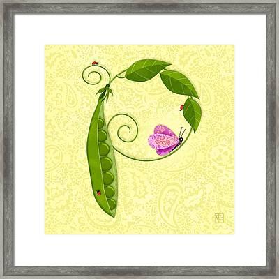 P Is For Peas In A Pod Framed Print by Valerie Drake Lesiak