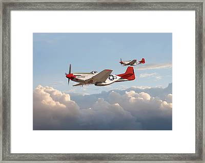 P51 Mustangs - Red Tails Framed Print by Pat Speirs