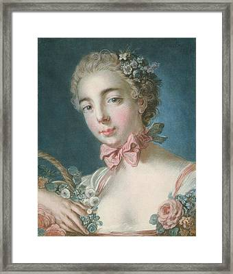 Head Of Flora Framed Print by Francois Boucher